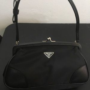 Prada evening bag Blk used twice nylon leather